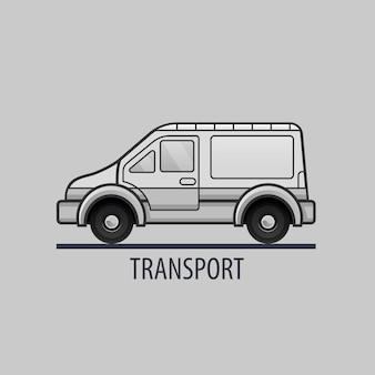 Weißes lieferwagen-symbol. flacher stil. saubere illustration