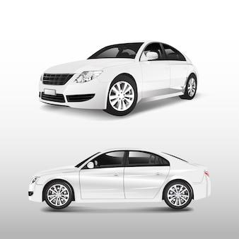 Weißes limousinenauto lokalisiert auf weißem vektor