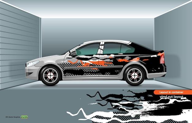 Weißes limousinenmodell mit design an den seiten, fertig zum drucken oder schneiden auf einem plotter.