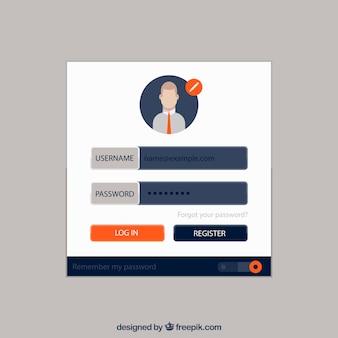 Weißes login-formular mit avatar