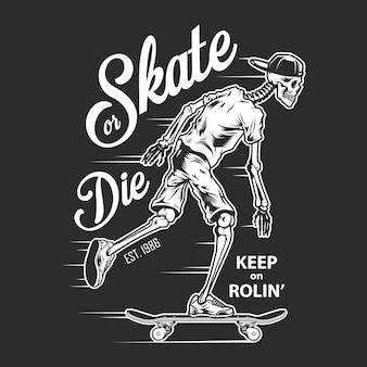 Weißes logo des weinlese-skateboarding