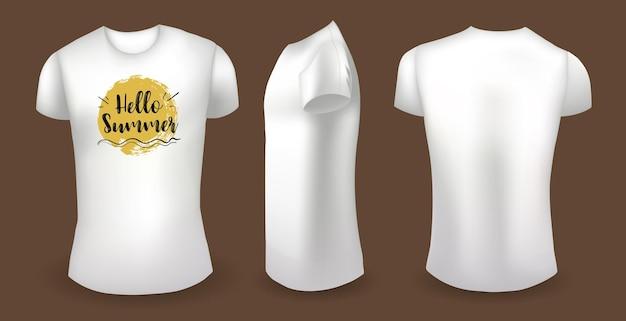Weißes männliches t-shirt mit etikett vorne hinten und seitenansicht hallo sommer-abzeichen-vektor