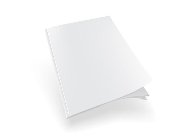 Weißes magazin auf weißem hintergrund mock-up-vektor