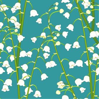 Weißes maiglöckchen auf grünem aquamarinem hintergrund