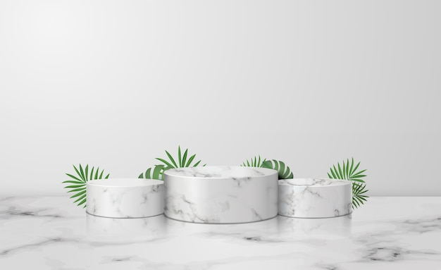 Weißes marmorzylinderpodest im weißen hintergrund