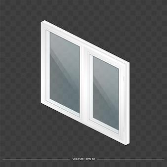 Weißes metall-kunststoff-fenster mit transparenten gläsern in 3d. modernes fenster in einem realistischen stil.