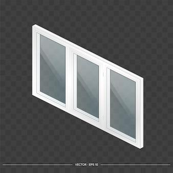 Weißes metall-kunststoff-fenster mit transparenten gläsern in 3d.