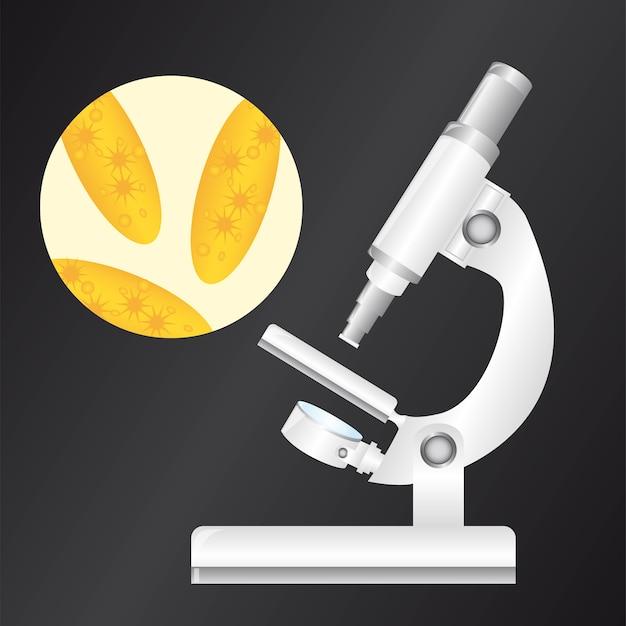 Weißes mikroskop mit virus über schwarzem backgroundvector