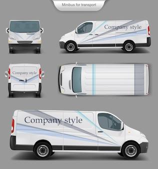 Weißes Minivan-Oberteil. vorne, hinten, Seitenansicht