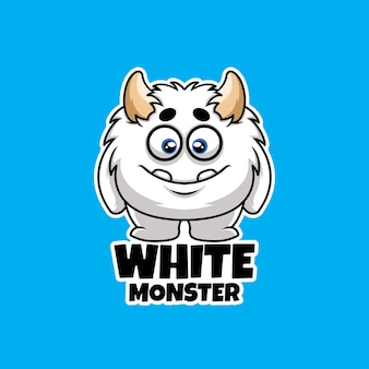 Weißes monster kreatives halloween-cartoon-charakter-maskottchen-logo