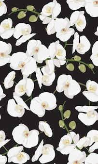 Weißes nahtloses mit blumenmuster der orchidee