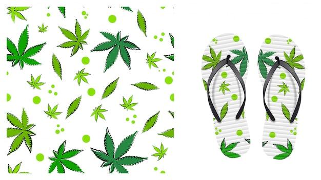 Weißes nahtloses muster mit blättern von cannabis. öko-muster bereit, im cartoon-stil zu drucken. musterdesign zum drucken auf flip-flops. visualisierung des flip-flops-designs