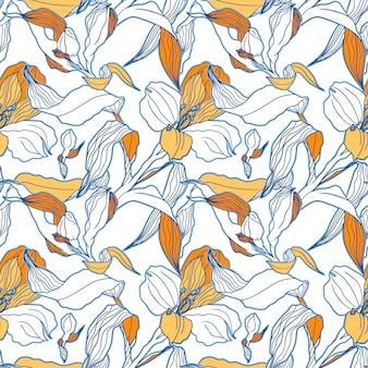 Weißes nahtloses muster mit hoch detalisierten alstroemeria knospen und blüten