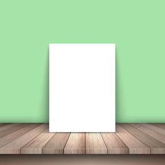 Weißes papier auf einem holztisch