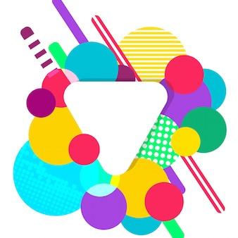 Weißes papier dreieck auf mehrere bunte kreise hintergrund. abstraktes konzept.