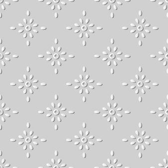 Weißes papier kunst runde kreuz punkt blume, stilvolle dekoration muster hintergrund für web-banner grußkarte