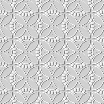 Weißes papier kunst runde kurve kreuz blumen blütenblätter rahmen, stilvolle dekoration muster hintergrund für web-banner grußkarte