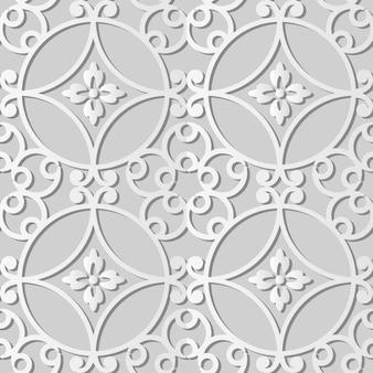 Weißes papier kunst runde kurve spirale rahmen blume, stilvolle dekoration muster hintergrund für web-banner grußkarte