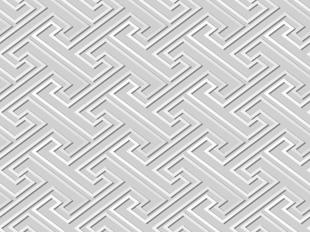 Weißes papierkunst-spiral-polygon-kreuz-maßwerk-rahmen, stilvoller dekorationsmusterhintergrund für web-banner-grußkarte