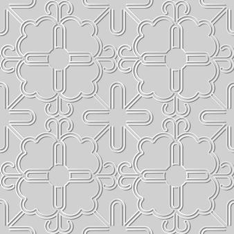 Weißes papierkunst-spiralkurven-kreuzrahmen-blumen-maßwerk, stilvoller dekorationsmusterhintergrund für web-banner-grußkarte
