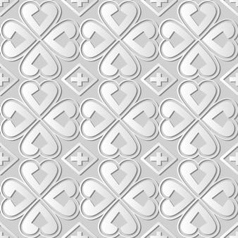 Weißes papierkunstkurve-herz-kreuz-kleeblatt, stilvoller dekorationsmusterhintergrund für web-banner-grußkarte