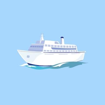 Weißes passagierschiff auf dem wasser.