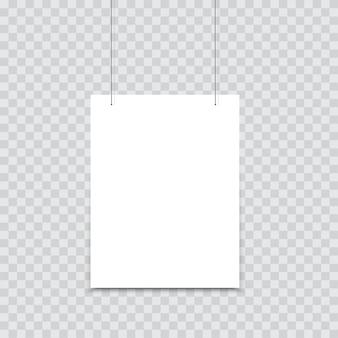 Weißes plakat, das am binder hängt.