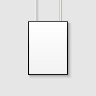 Weißes plakatmodell auf grauer wand