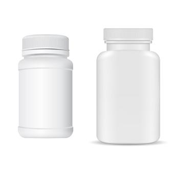 Weißes plastikvitamin-tablettenglas. ergänzungsflaschenrohling, 3d paket mit kappe.