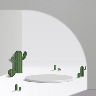 Weißes podium des zylinders im weißen hintergrund und im kaktus. produktpräsentation, szene zur präsentation eines kosmetischen produkts, podium, bühnensockel oder plattform. einfach sauber