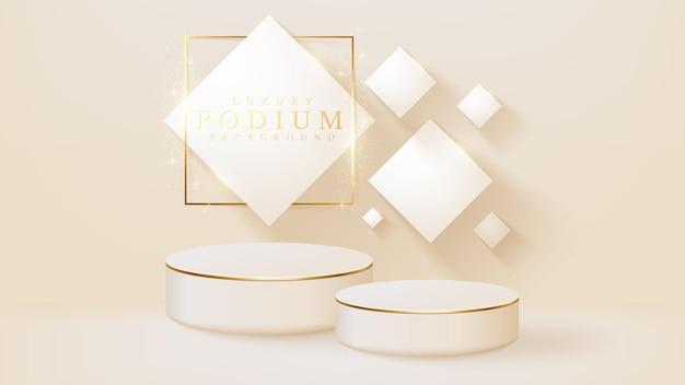 Weißes podium-display-produkt und glitzernde goldene linienszene, realistischer 3d-luxushintergrund, vektorgrafik zur förderung von vertrieb und marketing.