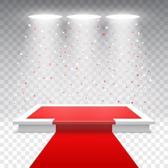 Weißes podium mit rotem teppich und konfetti. bühne für die preisverleihung mit scheinwerfern.