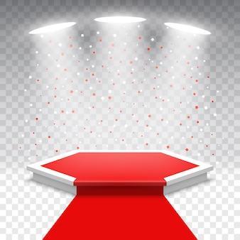 Weißes podium mit rotem teppich und konfetti. bühne für die preisverleihung. sockel. sechseckige szene mit scheinwerfern.