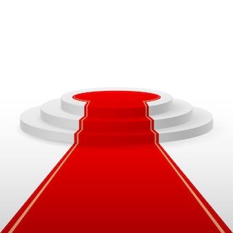Weißes podium mit rotem teppich