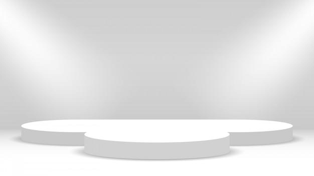 Weißes podium und scheinwerfer. bühne für die preisverleihung. sockel. illustration.