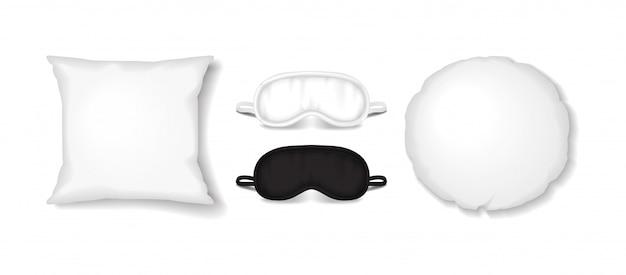 Weißes quadrat und runde kissen mit augenschlafmasken-set. vektor realistisches schlafzubehör