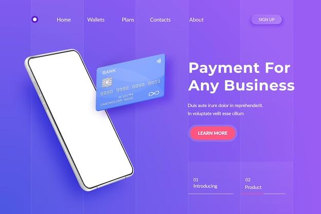 Weißes realistisches smartphone und plastikkreditkarte. handy 3d mit leerem weißem bildschirm und bankkarte mit chip. landingpage
