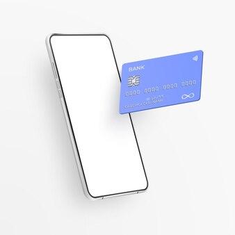 Weißes realistisches smartphone und plastikkreditkarte
