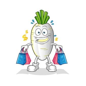 Weißes rettich-einkaufsmaskottchen. karikatur