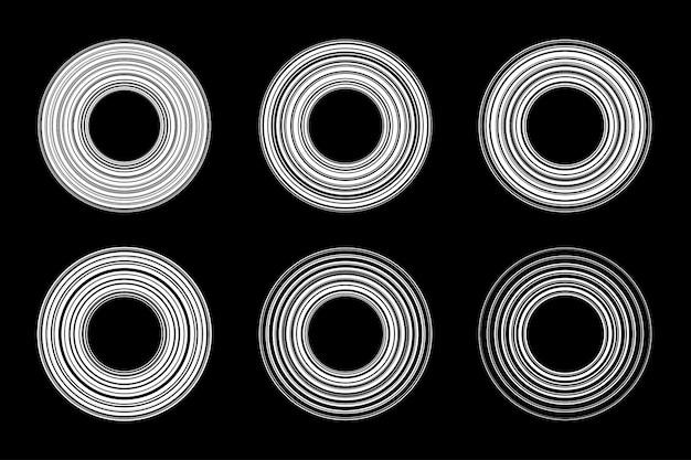Weißes rundes gestreiftes linienrahmenset. kreislinien.