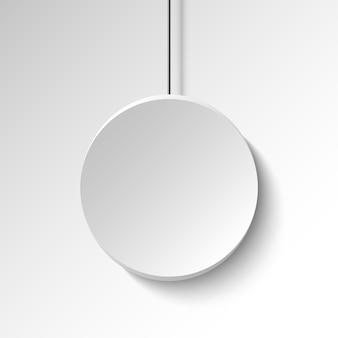 Weißes rundes plakat auf weißer wand. banner. illustration.
