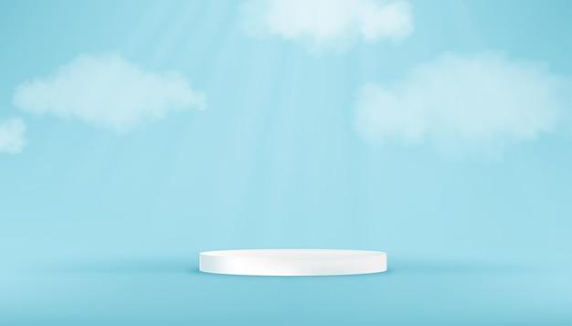 Weißes rundes podest im blue sky studio room mit wolke