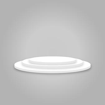 Weißes rundes podium - der sieger steht an erster stelle - festliche veranstaltung