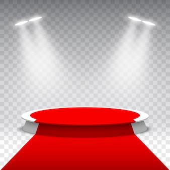 Weißes rundes podium mit rotem teppich. bühne für die preisverleihung im rampenlicht. sockel.