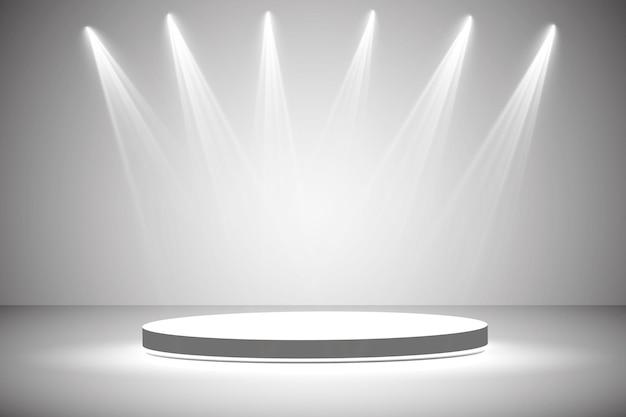 Weißes rundes podium. sockel. szene. .