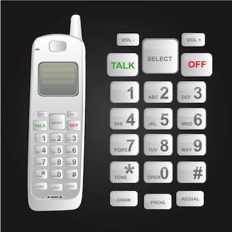 Weißes schnurloses telefon lokalisiert über schwarzem hintergrundvektor