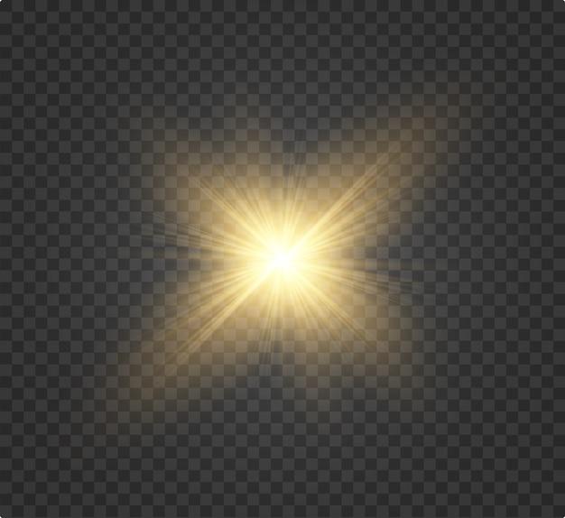 Weißes schönes licht explodiert in einer transparenten explosion. , helle illustration für perfekten effekt mit funkeln. heller stern. transparenter glanzverlauf, heller blitz.
