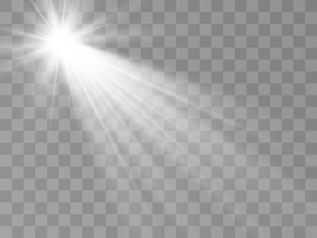 Weißes schönes licht explodiert mit einer transparenten explosion. heller stern. transparenter glanz des glanzgradienten, heller blitz.