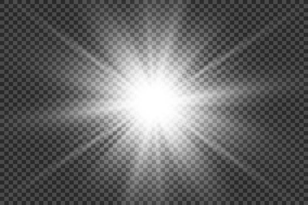 Weißes schönes licht explodiert mit einer transparenten explosion. vektor, helle illustration für perfekten effekt mit funkeln. heller stern. transparenter glanz des glanzgradienten, heller blitz