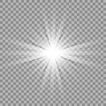Weißes schönes licht explodiert mit einer transparenten explosion.